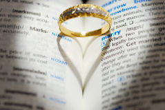 Will you marry me. A wedding Ring with shadow of heart shape Stock Images