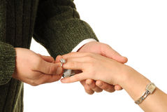 Will You Marry Me?. Close-up of male giving female an engagement ring royalty free stock photos
