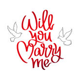 Will you marry me. Calligraphy. Stock Images