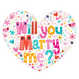 Will you Marry me heart shaped typography lettering decorative text design Stock Photos