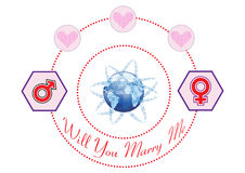 Will You Marry Me on The Internet Illustration Royalty Free Stock Images