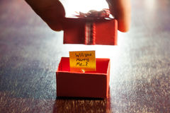 Will you marry me. Label and box Royalty Free Stock Image