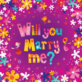 Will you Marry me?. Lettering decorative text wedding design Stock Photos