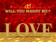 Will you marry me with Love word Royalty Free Stock Images