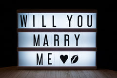 Will you marry me?. `Will you marry my` text in lightbox Stock Image