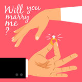 Will you marry me poster. Marriage proposal vector illustration with wedding ring and male and female hands Royalty Free Stock Photography