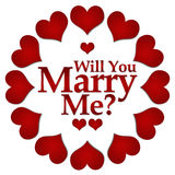 Will You Marry Me Red Hearts Circular Royalty Free Stock Image
