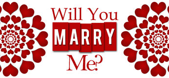Will You Marry Me Red Hearts Circular Royalty Free Stock Photography