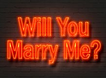 Will You Marry Me, red neon sign on brick wall. Background. 3D illustration Royalty Free Stock Photo