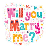 Will you Marry me retro typography lettering decorative text design Royalty Free Stock Photo