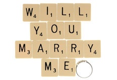 Will you marry me scrabble letters Royalty Free Stock Photography
