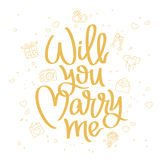 Will you marry me. Trend calligraphy Royalty Free Stock Photography