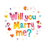 Will you Marry me?. Typography lettering decorative text wedding design Stock Photos