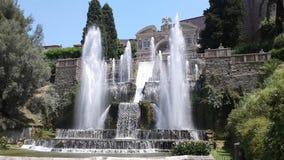 Willa d ` Este xvi wiek z pałac i fontannami, Tivoli, Włochy zdjęcie stock