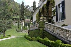 Willa Del Balbianello, Jeziorny Como: widok ogródy Zdjęcie Stock