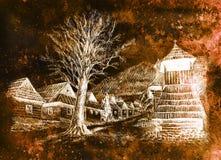 Willage ancien de montagne de vintage avec les maisons en bois et beffroi, dessin au crayon sur papier, effet inverti de sépia illustration stock
