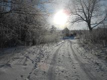 Willage road in the wintertime. stock photography