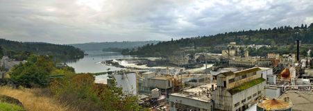 Willamette Falls Dam In Oregon City Panorama Royalty Free Stock Image