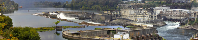 Willamette Falls Dam in Oregon City Panorama 3 Royalty Free Stock Image