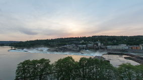 Willamette Falls natural waterfall on the Willamette River in OR at Sunset. Willamette Falls a natural waterfall on the Willamette River between Oregon City and stock video footage