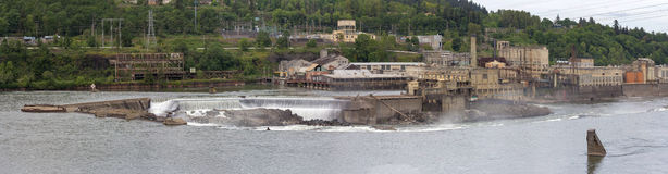Willamette Falls Paper Mills in Oregon Panorama. Willamette Falls Paper Mills Industrial Area Along Willamette River between Oregon City and West Linn Panorama Royalty Free Stock Photos