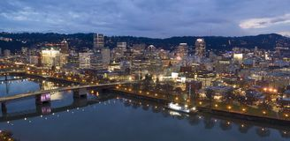Willamette River Bridges and Waterfront Overcast Night Portland Oregon stock image