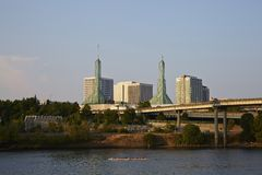 Willamette River, Portland city Royalty Free Stock Images