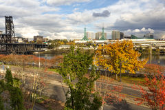 Willamette River in Portland, Oregon. At autumn season stock images