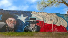 Wille Nelson and Stevie Ray Vaughn mural, Bishop Arts District, Dallas, Texas. Pictured is a wall mural by artists Josh Mittag and Theo Ponchaveli in the Bishop stock photography