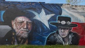 Wille Nelson and Stevie Ray Vaughn mural, Bishop Arts District, Dallas, Texas. Pictured is a wall mural by artists Josh Mittag and Theo Ponchaveli in the Bishop stock image