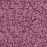 Willekeurig naadloos patroon met vegetarisch voedsel - aubergines geïsoleerd op achtergrond voor druk, behangwebsite royalty-vrije illustratie