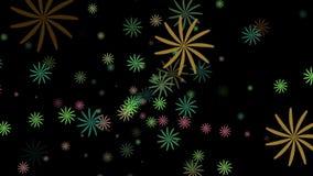 Willekeurig roterende abstracte bloemen in diverse kleuren op zwarte stock illustratie