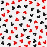 Willekeurig verspreide harten Romantisch naadloos patroon Rood, zwart, grijs Vector illustratie stock illustratie
