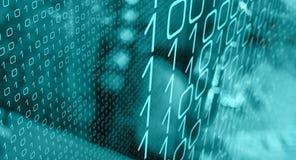 Willekeurige binaire aantallen cyber aanval, de binnendrongen in een beveiligd computersysteem computers van het bankbureau royalty-vrije illustratie