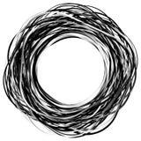 Willekeurige gekrabbelcirkels Concentrische cirkels in een hand getrokken styl royalty-vrije illustratie