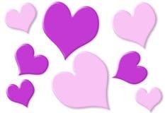 Willekeurige kleine en grote harten met roze en purple Stock Foto