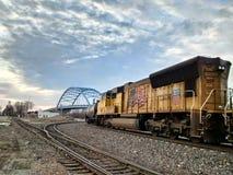 Willekeurige treinen in Atchison Kansas Royalty-vrije Stock Afbeeldingen