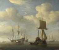 Willem van de Velde - een Engels Gekalmeerd Schip en Nederlandse Schepen royalty-vrije stock afbeelding