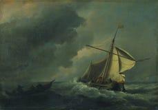 Willem van de Velde - ein niederländisches Schiff in einem starken Wind stockfotografie