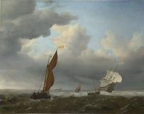 Willem van de Velde - ein niederländisches Schiff und andere kleine Schiffe in einem starken Wind stockfoto