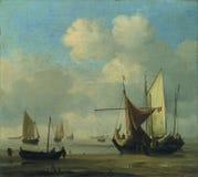 Willem van de Velde - Kleine Nederlandse Schepen Aan de grond bij Laag Water in een Rust stock fotografie
