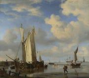Willem van de Velde - niederländische Schiffe küstenwärts und badende Männer lizenzfreie stockfotos