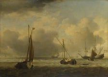 Willem van de Velde - niederländische Schiffe und kleine Schiffe in Küstennähe in einer Brise stockfoto