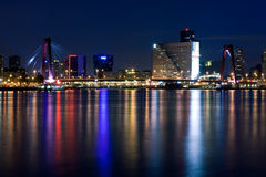 Willems bridge of Rotterdam. NIght view Stock Photos