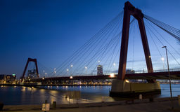 Willemsbrug Bridge in Rotterdam on the Nieuve-Maas River. Rotterdam, Netherlands Royalty Free Stock Photography