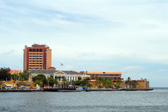 Willemstad Curacao. Point of land merging with Caribbean Sea royalty free stock photography