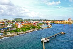 Willemstad, Curacao, Netherlands Antilles. Colourful houses and commercial buildings of Punda, Willemstad Harbor, on the Caribbean. Island of Curacao royalty free stock photography