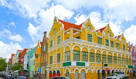 Willemstad, Curacao, Netherlands Antilles. Colourful houses and commercial buildings of Punda, Willemstad Harbor, on the Caribbean. Island of Curacao stock photography