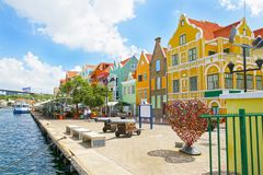 Willemstad, Curacao, Netherlands Antilles. Colourful houses and commercial buildings of Punda, Willemstad Harbor. On the Caribbean island of Curacao royalty free stock photography