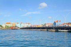 Willemstad, Curacao. Queen Emma Bridge, pontoon floating bridge across the St. Anna Bay stock photo